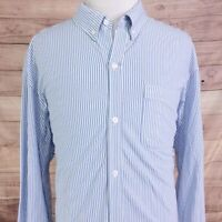 DULUTH TRADING CO LONG SLEEVE BLUE WHITE STRIPE BUTTON DOWN SHIRT MENS SZ 2XL