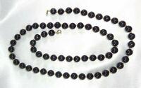 Vintage Circa 1970's CROWN TRIFARI Black Acrylic Plastic Bead Necklace!
