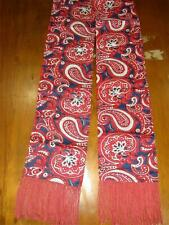 Vintage XL Red White & Blue Paisley Silky Satin Opera Scarf with Fringe