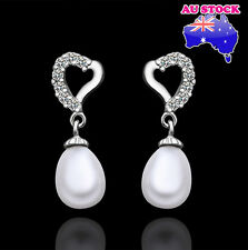 Charming 18k White Gold Filled Tear Drop Pearl Earrings with Zircon Diamond