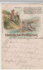 (76881) AK Gruss vom Rhein, Burg Rheinstein, Litho 1898