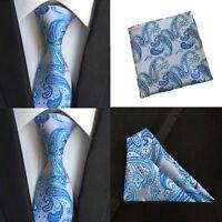 Men Blue Paisley Floral Necktie Pocket Square Handkerchief Ties Set Lot HZTIE088