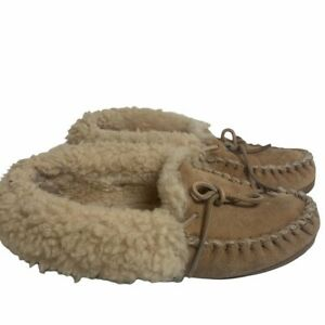LL Bean Wicked Good Moccasin Tan Slippers Womens 8M