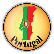 Portugal Map Flag Glossy Label Car Bumper Sticker Decal 5'' x 5''