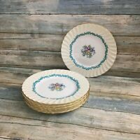 Set of 6 vintage MINTON Ardmore Salad Luncheon Plates Turquoise and Gold rim