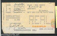 59723  - Vecchio  BIGLIETTO PARTITA CALCIO - 1988 / 1989 : MILAN /  REAL MADRID