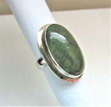 Green Jasper Ring, Nepal Sterling Silver & Large Gorgeous