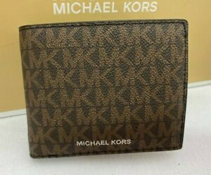 New Michael Kors Cooper Men Brown MK Signature Billfold Wallet Passcase