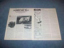 """Porsche 917 Race Car Vintage Info Article """"12 Cylinders, 235 MPH"""""""