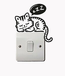 Cute Cat sleeping Switch Vinyl Decal Sticker Child Room LightSwitch Wall