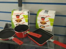 3piece COOKING pan set.for camping hiking.fishing compact non stick.red or black