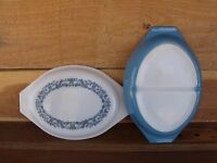 VTG 2pc PYREX Blue Ivy Promotional Divided Dish w Opaque Lid w Design 1 ½ QT