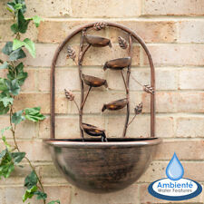 Outdoor Wall Mounted Water Feature Cascading Leaf Oslo with Lights Ambienté 55cm