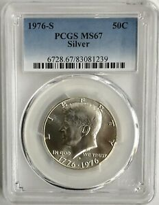 LOT OF 5 1976 S Silver Kennedy Half Dollars 50c PCGS MS67
