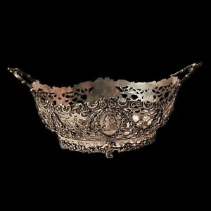 """LARGE 7"""" STERLING SILVER CAMEO WOMAN FIGURAL FLORAL CENTERPIECE BASKET BOWL"""