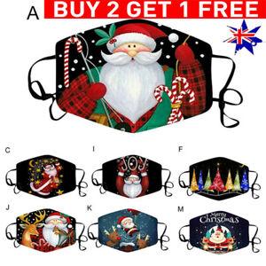 Adult Face Mouth Cover Christmas Santa Claus Print Face Masks Washable Reusable