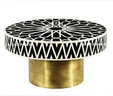 Handmade Antique Bone Inlay Black Moroccan Brass Finish Base Round Coffee Table