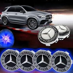 4 Set of Floating LED Wheel Rim Center Caps 75mm For Mercedes-Benz Emblem Badge