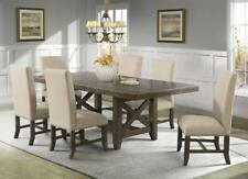 7 Piece Dining Set Table w/ Leaf 6 Linen Fabric Upholstered Side Chairs Nailhead