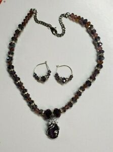 Handmade Purple Rhinestone Crystal Faceted Beaded Necklace & Earrings