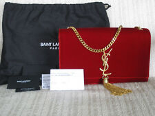 Saint Laurent AUTH NWT Monogram Medium Rosso Red Velvet Gold Tassel Shoulder Bag