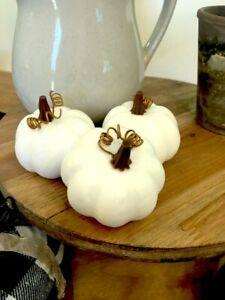 Mini White Pumpkins set of 3