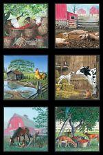 Vida en la granja 100% Algodón Acolchado Tela Paneles O Colgante De Pared Granja imágenes
