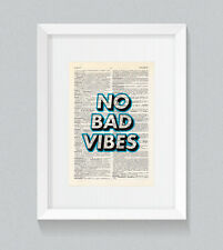 No Bad Vibes Wording Blue Vintage Dictionary Book Print Art