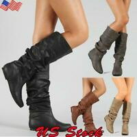 US Womens Casual Slouch Plain Mid Calf Boots Knee High Round Toe Flat Heel Shoes