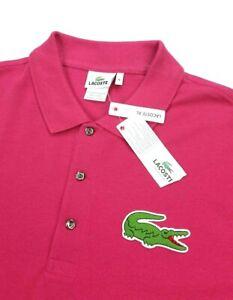 Lacoste Solid Pink Big Croc Short Sleeve Pique Mesh Polo Shirt 7L (XL TALL) XLT