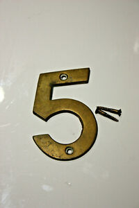 Vintage brass ''5'' door number
