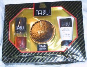 TABU Gift Set 1 oz cologne spray 2.5 oz dusting powder 2.25 oz body lotion