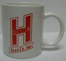 Vtg 1980s HUBNER CORN FEED SEED COMPANY RED COFFEE MUG CUP WEST LEBANON INDIANA