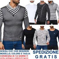 Pullover Maglioncino da Uomo Aderente Maglia in Cotone Slim Fit Maglione Leggero