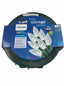 Philips 200 Cool White C6 LED Lights w/ Easy Storage Spool Green Wire NEW
