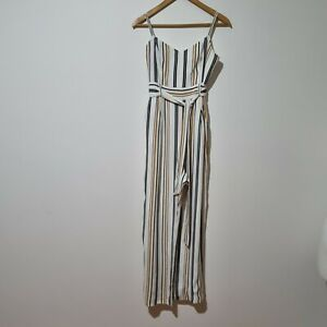 Forever New Size 14 White Striped Jumpsuit with pockets