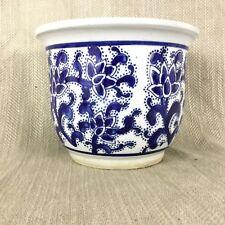 Vintage Chinese Pottery Planter Plant Pot Jardiniere Blue & White