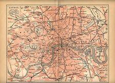 1893= LONDRA = LONDON = Antica MAPPA = OLD MAP
