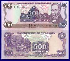Nicaragua P155, 500 Cordoba, Poet Ruben Dario / classroom scene, UNC $15 CatVal!