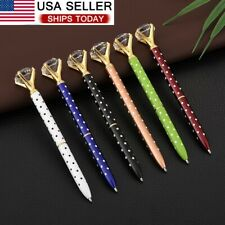 6 Pieces Big Crystal Diamond Pen Metal Black Ink Ballpoint Pens -USPS