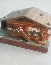 Vintage 70s Reuge Suiza Chalet Cabaña Casa joyero musical hecho en Switz