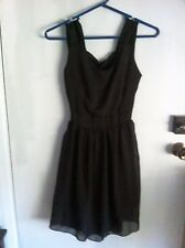 Little Black Dress CHIFFON Cut-Out Korea Cocktail Formal TULIP Sz 6-8 XS-S