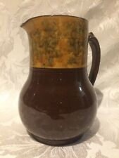LARGE TWO TONE BROWN STUDIO POTTERY CERAMIC EARTHENWARE GLAZED JUG / PITCHER