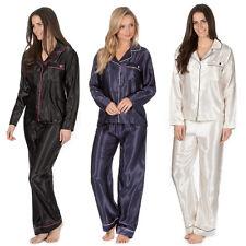 Ladies Lightweight Summer Long Sleeve Top and Bottoms Satin Pyjama / Pyjamas Set