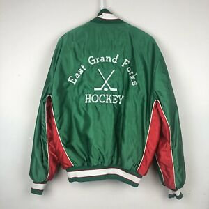 Vtg Butwin East Grand Forks Hockey Green Red Satin Jacket Mens Sz L USA Made