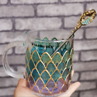 Starbucks Liminted Edition Classic Fish Scale Cup Glass Cup With Stirring Rod