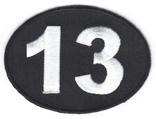 THIRTEEN-NUMBER 13-BIKER-LUCKY-UNLUCKY-BLACK w/WHITE/Iron On Embroidered Patch
