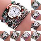 Women's Wrap Braided Rhinestone Bracelet Analog Quartz Wrist Watch