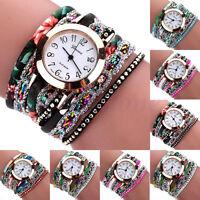 Fashion Women's Wrap Braided Rhinestone Bracelet Analog Quartz Wrist Watch