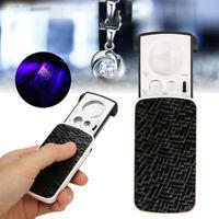 Pocket Magnifying Magnifier Jeweler Eye Glass Loupe Loop LED Light 30X 60X 90X E